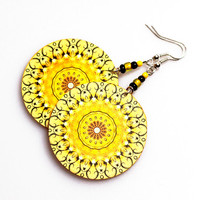 Sunny rosette Earrings Mandala Round Summer Fashion, Yellow circles, gift for her under 25  (A13)