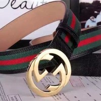 155.99$ New Gucci Men's Green Red Black Leather Belt size 105CM 36– 40