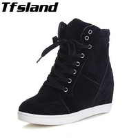 2018 Tfsland Women Height Increasing Shoes Breathable Wedge Ankle Boots Canvas Shoes Sneakers High-top Lace Skateboarding Shoes