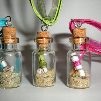 Mini message in a glasss bottle necklace with by MiniArtGallery