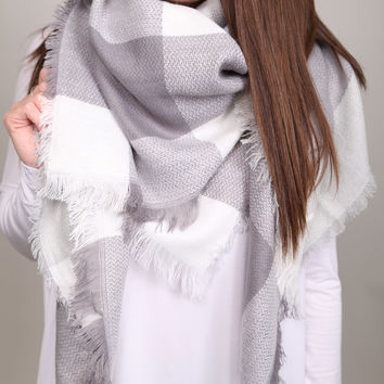 Holiday Plaid Blanket Scarf {Grey/White}
