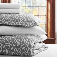 Urban Ikat Duvet Bedding Bundle, Light Grey