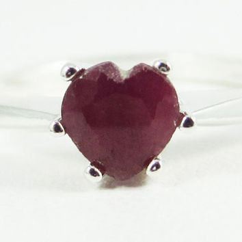 Natural Ruby Heart Ring, 925 Sterling Silver, July Birthstone Ring, Sterling Silver Ruby Heart Ring, Natural Ruby Gemstone Ring