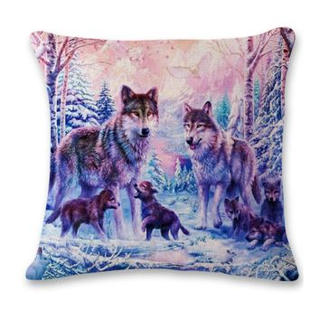 Wolf Family with Pups Decorative Cushion Throw Pillow Cover