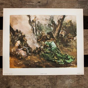 Gypsy Camp Spanish Lithograph