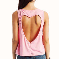 cut-out-heart-back-tank CORAL PINK ROYAL WHITE YELLOW - GoJane.com