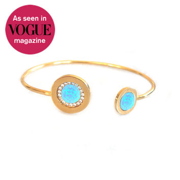 Gold Duellette Gem Bangle (blue opal inlays)