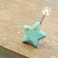 Blue Turquoise Star Belly Button Jewelry Belly Ring