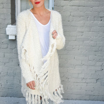 Brigette Fuzzy Knit Shawl Sweater
