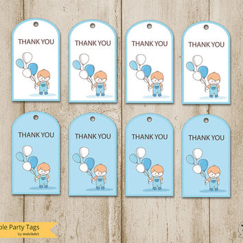 Printable thank you tags for boy - Party card - INSTANT DOWNLOAD, favor tags, party supplies, printable file, party, Boy with Balloons Card