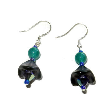 MOVINGSALE Aqua, Purple and Black Floral Dangle Earrings