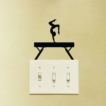 Balance Beam Light Switch Fabric Sticker - Gymnastics Wall Decal - Gymnasts Laptop Decal - Gift For Gymnast - Beam Wall Art - Girl Room Art
