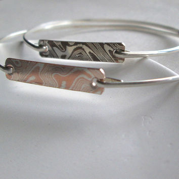Mokume Gane Bangle Bracelet / Silver and Copper Bar Bracelet / Mokume Gane and Argentium / Delicate Horizontal Bar Bangle / Asian /Zen