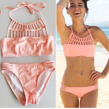 CUTE WOVEN SEXY PINK NET TWO PIECE BIKINI
