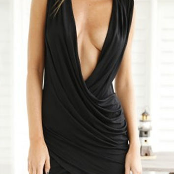 Black Drape Deep V-Neckline Sleeveless Wrap Mini Bodycon Dress