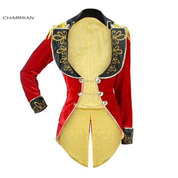 Charmian Halloween Cosplay Costume Retro Red Velvet Tailcoat Jacket Vintage Swallow-tailed Coat Carnival Costume