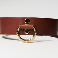 Leather Bondage Collar - Chestnut Brown Latigo - Brass Lead Ring -  Ivy Motif