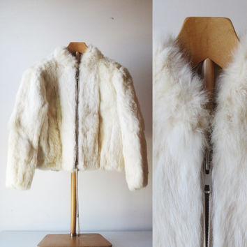 Vintage White Rabbit Fur Jacket 70s Zip Front