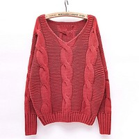 Crocheted handmade loose thin cutout batwing sleeve sweater