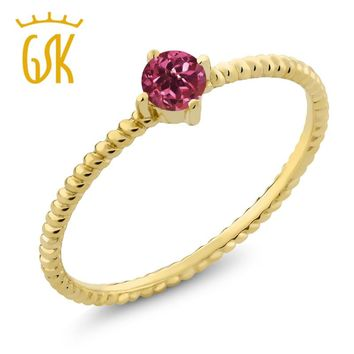 10K Yellow Gold 0.15 Ct Round Pink Tourmaline Engagement Solitaire Ring