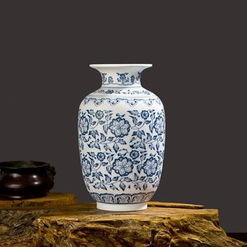 Blue and White Ceramic Vase Interlocking Lotus Design Porcelain Flower Vase Handmade Home Decoration Jingdezhen Flower Vases
