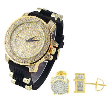 Hip Hop Iced Out Yellow Gold Finish Dial Watch Bullet Silicone Strap & Prong Earrings Combo