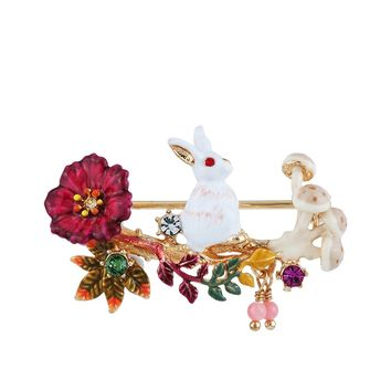 Les Néréides FANTASY GARDEN RABBIT AND FLOWERS AND MUSHROOM BROOCH