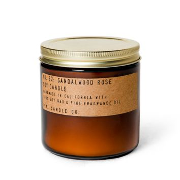 P.F. CANDLE CO. STANDARD SOY CANDLE- NO.032: SANDALWOOD ROSE