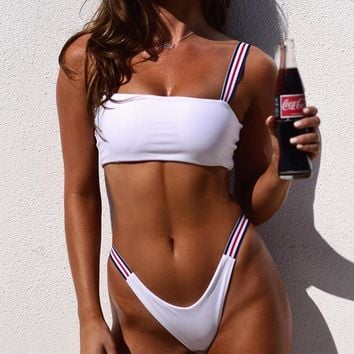 Hot Sale Summer Women Sexy Pure Color Two Piece Bikini Swimsuit White