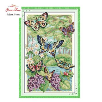 Cross Stitch kit ,Butterflies fly in the forest DMC 14CT needlework 923