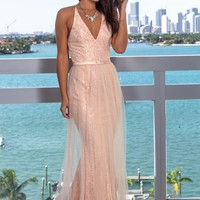 Blush Lace Maxi Dress with Tulle Detail