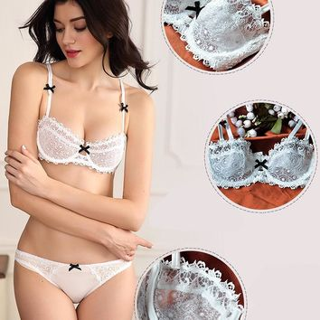 White Bra & Brief Sets Women sexy lace bralette Bow print unlined girl's plus size cup panties brassiere ABCD 70 75 80 85 90 95