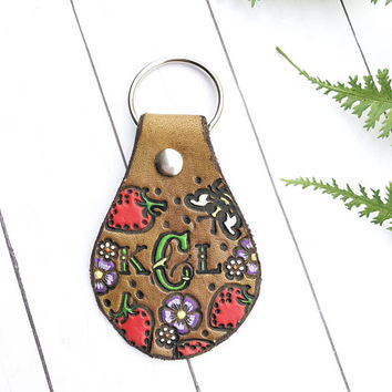 Monogram Leather Key Fob, Strawberries Tooled and Stamped Leather, Western Cowgirl Leather, Painted Leather, Personalized Key Fob