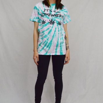 Tie Dye Pot Leaf Shirt 420 Hippie Pastel Grunge Small Women Handmade Tie Dye Clothing Weed Stoner Psychedelic Clothing Festival Cotton Candy