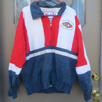 Vintage san Diego  NFL  Logo Athletic Jacket  -Sz MED  large embroidery at back