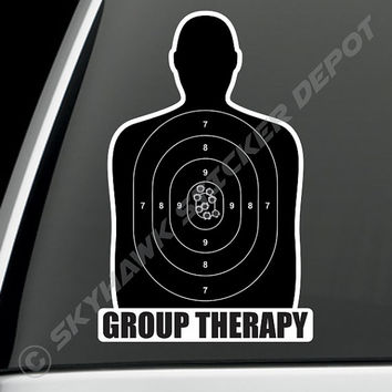 Group Therapy Gun Target Sticker Vinyl Decal Bumper Sticker Car Truck Macbook Pro Air Sticker Molon Labe JDM Sticker