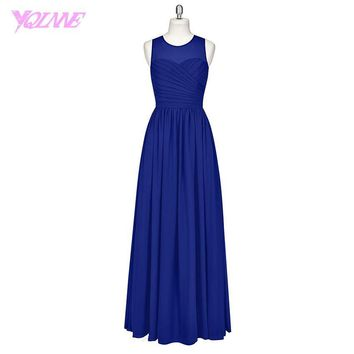 Plus Size Royal Blue Long Bridesmaid Dresses Chiffon Pleats Back Zipper Floor Length Wedding Party Dress Real Photos