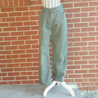 Vintage LL Bean Womens Jeans, Size 9, Taupe, Army Green, Grunge Denim Pants, High Waist Mom Jeans, 90s Clothing, 80s Fashion, Grungy Girl