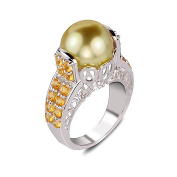 Imperial Pearls By Josh Bazar: Golden South Sea Pearl & Citrine Ring in Sterling Silver