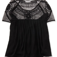 Sheer Pieced Lace Peasant Top