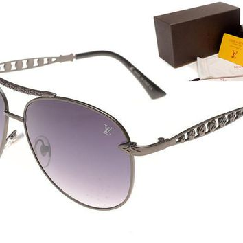 LV Mirrored Flat Lenses Street Fashion Metal Frame Women Sunglasses [2974244694]
