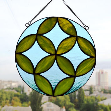Round Stained Glass Panel, Suncatcher with Sacred Geometric Design in Sky Blue and Lime Green, Window Decoration or Wall Art Glass Decor