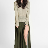 Out of Bounds Slit Pleated Maxi Skirt - $38.00: ThreadSence, Women's Indie & Bohemian Clothing, Dresses, & Accessories