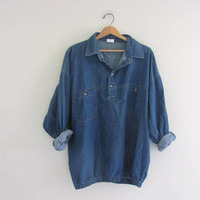 vintage denim jean shirt. pullover denim shirt. XL