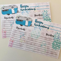 Recipe Cards- Happy Camper- Glamping- Quirky Kitchen- Recipe Card Box- Travel Trailer- Turquoise- Vintage Inspired