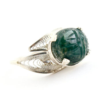 Vintage Sterling Silver Scarab Ring - Green Moss Agate Semi Precious Stone Bypass Wrap Ring Jewelry / Green Carved Beetle