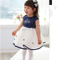 Retail Infant Baby Girls Blue White Short Sleeve Crown Dress Kids clothes