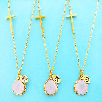 Set of 5-10, Personalized, Letter, Initial, Sideway, Cross, Ice pink, Glass, Stone, Gold, Silver, Necklace, Sets, Wedding, Bridal, Gift