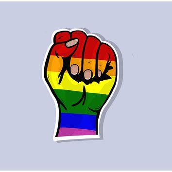 LGBT Pride Clenched Fist Sticker in Rainbow