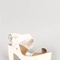Soda Two Tone White Open Toe Lug Sole Platform Heel Color: Off White, Size: 8.5